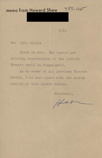 HOWARD SHAW - TYPED LETTER SIGNED 5/13