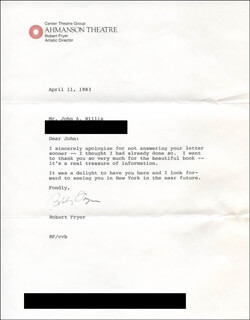 ROBERT FRYER - TYPED LETTER SIGNED 04/11/1983