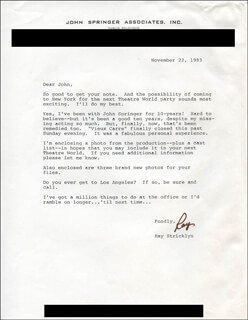 RAY STRICKLYN - TYPED LETTER SIGNED 11/22/1983