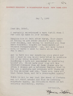 MAURICE ZOLOTOW - TYPED LETTER SIGNED 05/07/1942