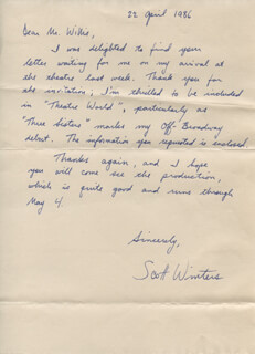 SCOTT WINTERS - AUTOGRAPH LETTER SIGNED 04/22/1986