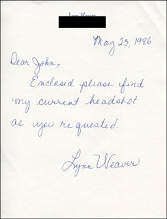 LYNN WEAVER - AUTOGRAPH NOTE SIGNED 05/23/1986