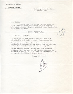 ROBERT BOB DOWNING - TYPED LETTER SIGNED 01/07/1969