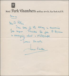JANE ECCLES - AUTOGRAPH LETTER SIGNED