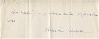 MARTIN NEWMAN - AUTOGRAPH NOTE SIGNED