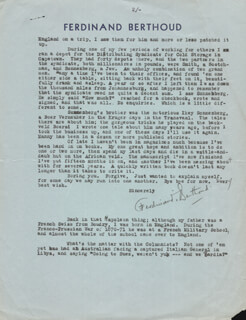 Autographs: FERDINAND BERTHOUD - TYPED LETTER SIGNED 01/27/1941