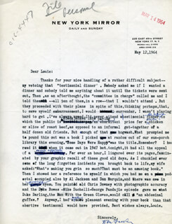 DREW PEARSON - TYPED LETTER SIGNED 05/12/1964