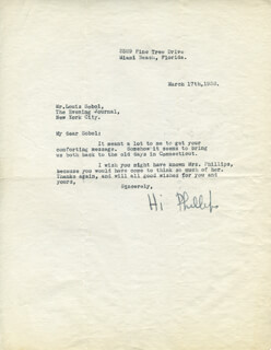 H. I. PHILLIPS - TYPED LETTER SIGNED 03/17/1938