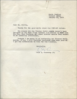OTIS GUERNSEY - TYPED LETTER SIGNED 01/22/1970