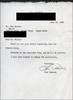 LOIS RAEBECK - TYPED LETTER SIGNED 07/22/1986