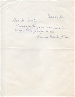 BEATRICE MANLEY - AUTOGRAPH NOTE SIGNED 09/20/1983