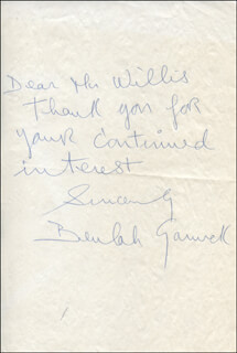 BEULAH GARRICK - AUTOGRAPH NOTE SIGNED