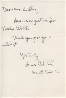 JAMES CAHILL - AUTOGRAPH LETTER SIGNED