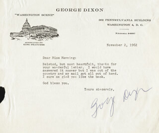 GEORGE DIXON - TYPED LETTER SIGNED 11/02/1962