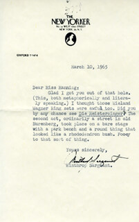 WINTHROP SARGEANT - TYPED LETTER SIGNED 03/10/1965