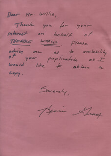 KEVIN GRAY - AUTOGRAPH LETTER SIGNED