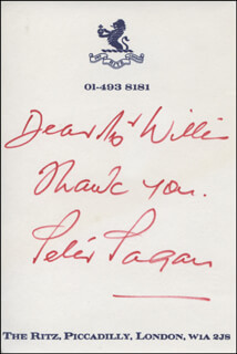 PETER PAGAN - AUTOGRAPH NOTE SIGNED