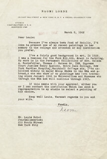 NAOMI LORNE - TYPED LETTER SIGNED 03/08/1962