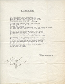 HOWARD BARRINGTON - INSCRIBED POEM SIGNED CIRCA 1969