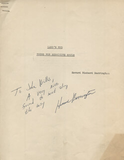 HOWARD BARRINGTON - INSCRIBED POEM SIGNED
