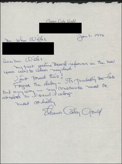 ELEANOR CODY GOULD - AUTOGRAPH LETTER SIGNED 01/01/1976