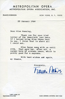 FRANCIS ROBINSON - TYPED LETTER SIGNED 01/22/1964