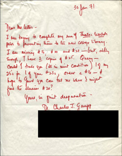 CHARLES J. GAUPP - AUTOGRAPH LETTER SIGNED 01/30/1971