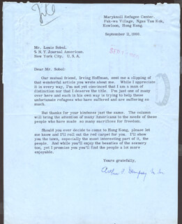 Autographs: ARTHUR F. DEMPSEY - TYPED LETTER SIGNED 09/11/1960