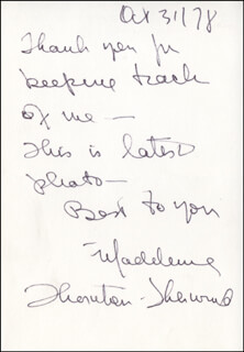 MADELEINE THORNTON-SHERWOOD - AUTOGRAPH NOTE SIGNED 10/31/1978
