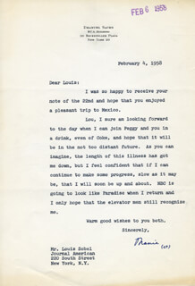 EMANUEL SACKS - TYPED LETTER SIGNED 02/04/1958
