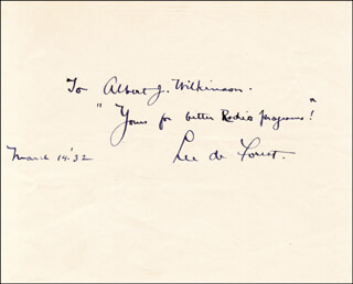 LEE DE FOREST - AUTOGRAPH NOTE SIGNED 03/14/1932  - HFSID 31898