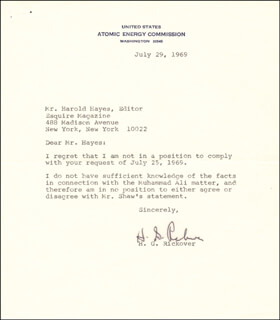 ADMIRAL HYMAN G. RICKOVER - TYPED LETTER SIGNED 07/09/1969