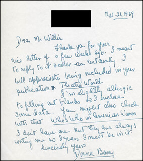 DONNA BARRY - AUTOGRAPH LETTER SIGNED 11/21/1969