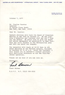 COLONEL FRANK BORMAN - TYPED LETTER SIGNED 10/07/1977