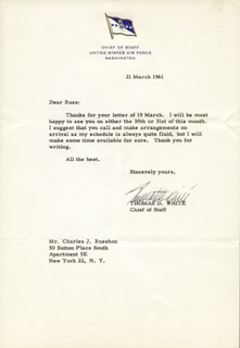 GENERAL THOMAS D. WHITE - TYPED LETTER SIGNED 03/21/1961