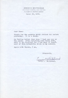 LT. GENERAL ENNIS C. WHITEHEAD - TYPED LETTER SIGNED 03/29/1961