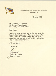 Autographs: GENERAL GEORGE S. BROWN - TYPED LETTER SIGNED 06/02/1975