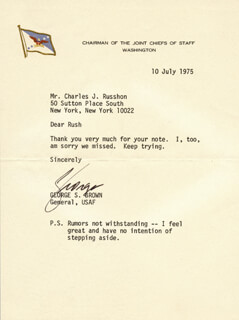 Autographs: GENERAL GEORGE S. BROWN - TYPED LETTER SIGNED 07/10/1975