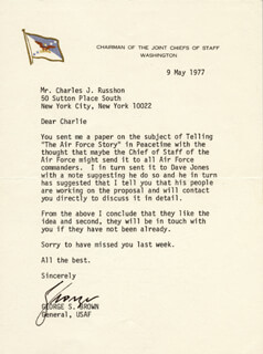 Autographs: GENERAL GEORGE S. BROWN - TYPED LETTER SIGNED 05/09/1977
