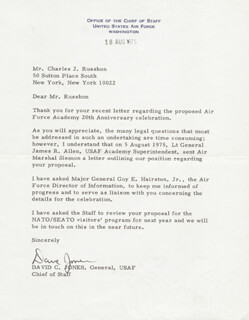 GENERAL DAVID C. JONES - TYPED LETTER SIGNED 08/18/1975