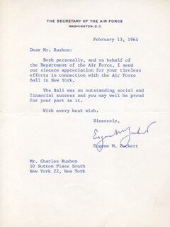 EUGENE ZUCKERT - TYPED LETTER SIGNED 02/13/1964