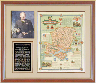 PRESIDENT DWIGHT D. EISENHOWER - MAP SIGNED 1947