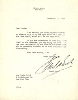 FRANK BRING 'EM BACK ALIVE BUCK - TYPED LETTER SIGNED 11/15/1939