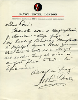 ARTHUR TRACY - AUTOGRAPH LETTER SIGNED