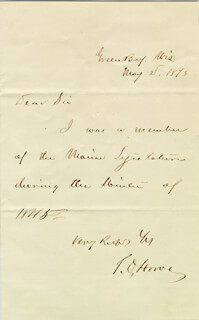 TIMOTHY O. HOWE - AUTOGRAPH NOTE SIGNED 05/02/1873