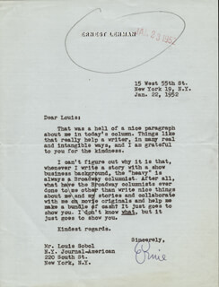 ERNEST LEHMAN - TYPED LETTER SIGNED 01/22/1952