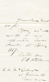 PHINEAS W. HITCHCOCK - AUTOGRAPH LETTER SIGNED 5/2