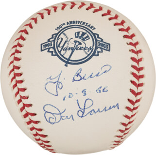 YOGI BERRA - AUTOGRAPHED SIGNED BASEBALL CO-SIGNED BY: DON LARSEN - HFSID 319777