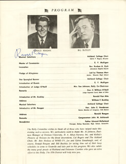 Autographs: PRESIDENT RONALD REAGAN - PROGRAM SIGNED CIRCA 1965 CO-SIGNED BY: JOHN MILAN ASHBROOK