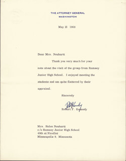 Autographs: ROBERT F. KENNEDY - TYPED LETTER SIGNED 05/21/1963